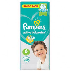 Pampers active baby-dry #6 подгузники, 13-18 кг 52 шт