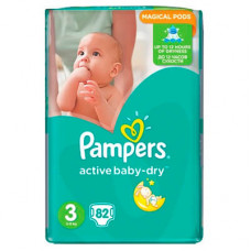 Pampers Active Baby-Dry 3 Подгузники (6-10 кг) 82 шт