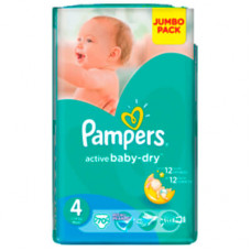 Pampers Active Baby-Dry 4 подгузники  (8-14 кг) 70 шт